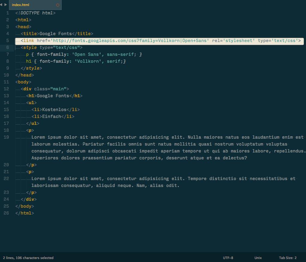 Beispiel für Webseiten-Code