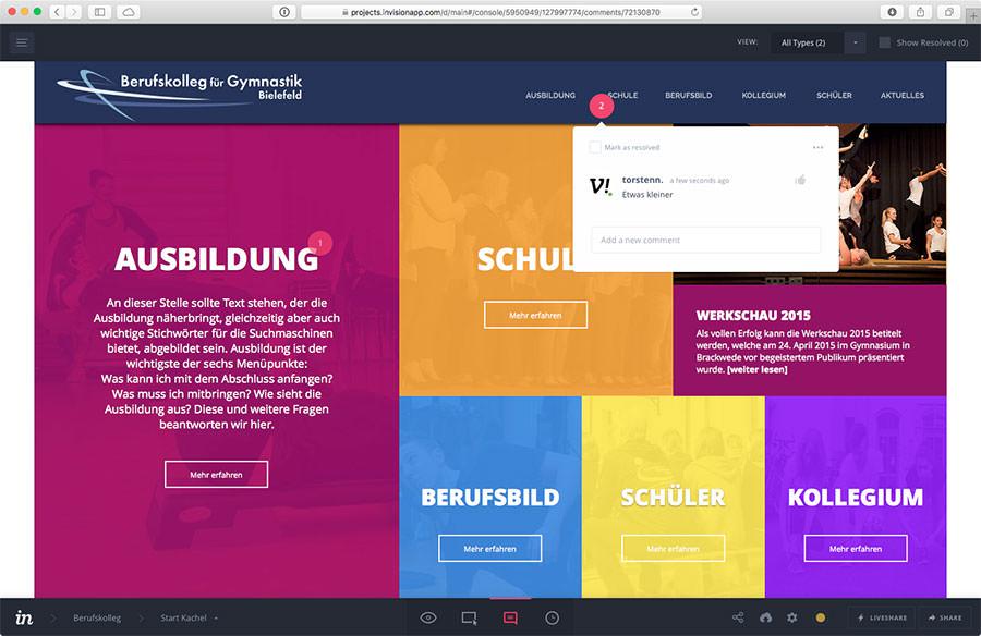 Präsentation des Entwurfs im Browser