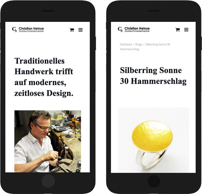 Responsives Webdesign auf Smartphone
