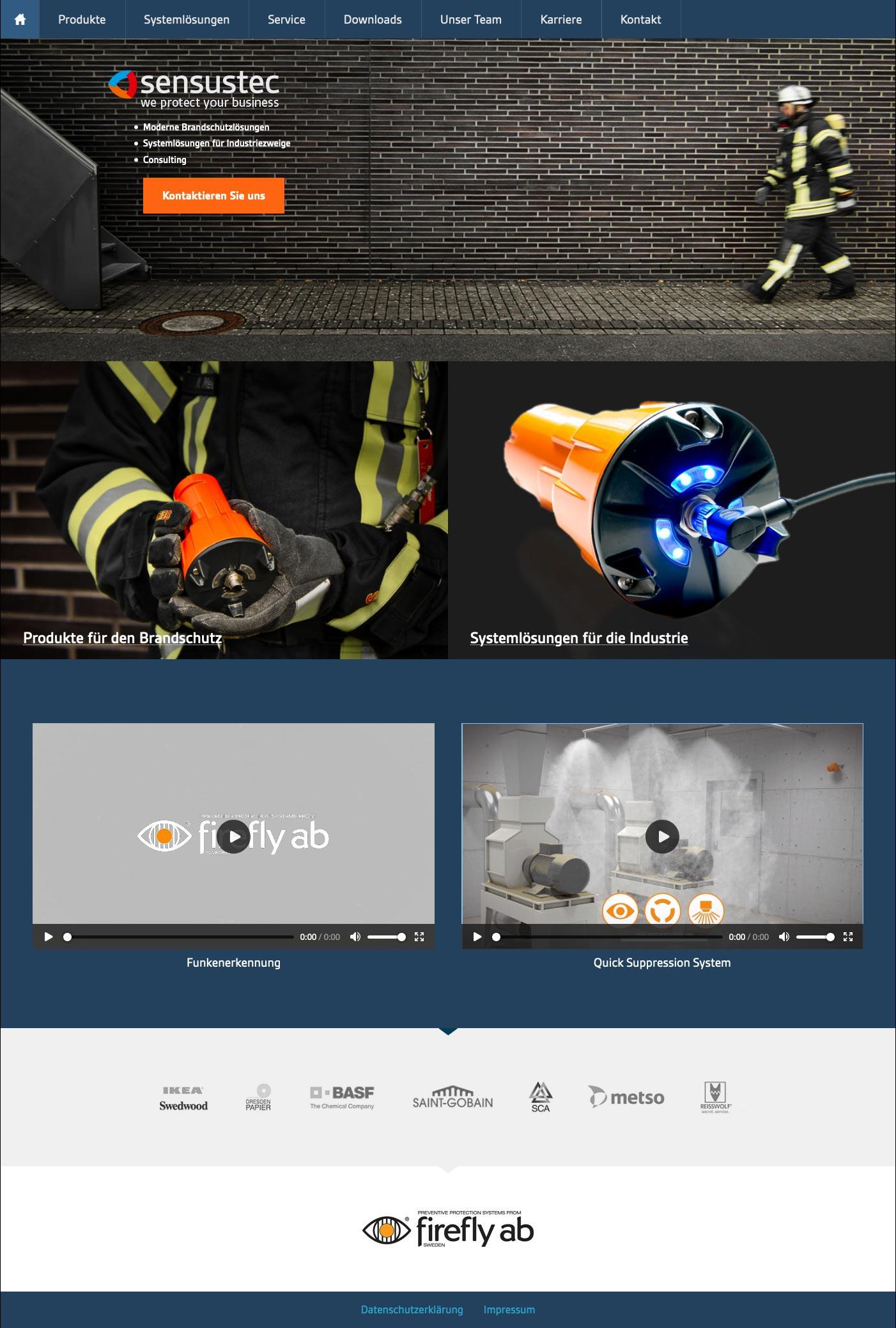Startseite der Webseite der sensustec GmbH