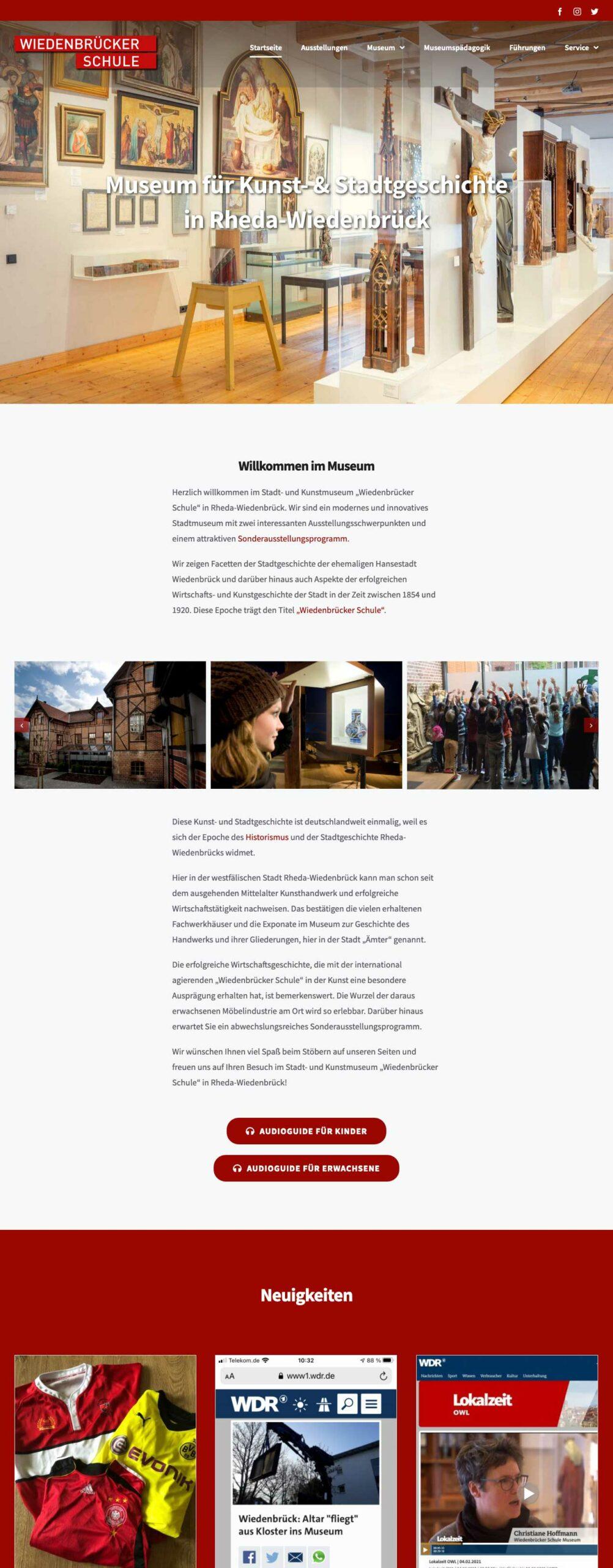 Webseite Wiedenbrücker Schule Museum
